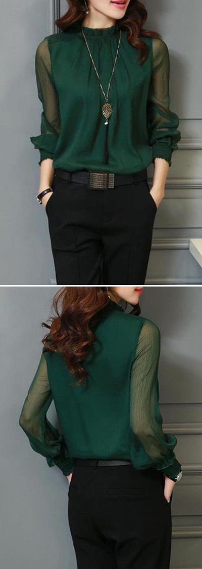 WOW!! - LOOKING ABSOLUTELY FABULOUS IN HER BLACK PANTS & AMAZING LOOKING, DARK GREEN BLOUSE!! - SUCH A STUNNING OUTFIT!