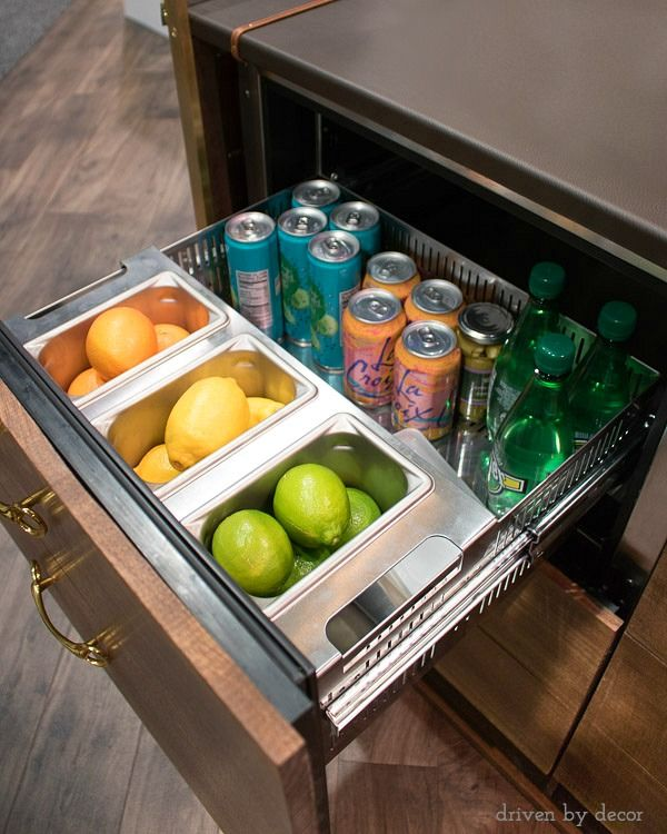 Refrigerator+drawer+integrated+into+bar+-+so+cool!