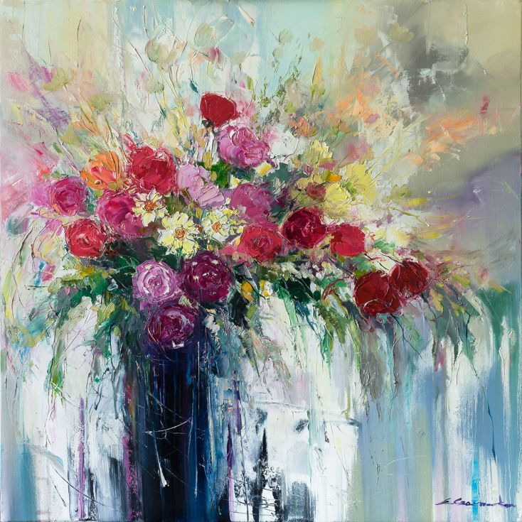 ARTFINDER: 'Pink English Rose Bouquet' by Ewa Czarniecka - This piece was made with an impasto technique, applying thick layers of oil paint to canvas. Painting continues around the deep edges of the canvas giving a ...