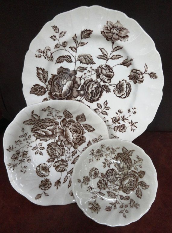 Johnson Brothers Elizabeth Brown Plate, Soup Bowl and Dessert Bowl, Hard To Find, Vintage Johnson Brother China