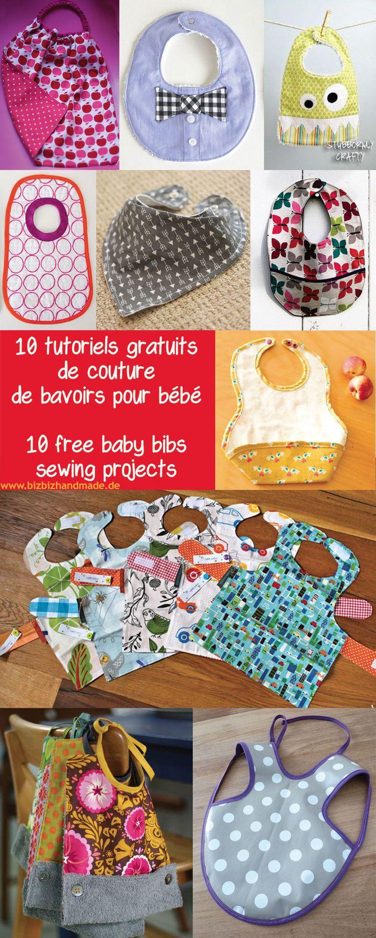 10 tutoriels gratuits de couture de bavoirs - 10 free baby bibs sewing projects - DIY - Tutorial  by BizBizHandmade -   couture · tuto · tutoriel · patron · pattern · bib ·