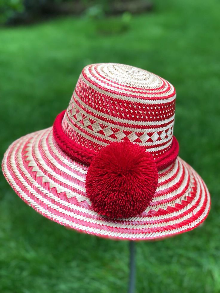 Straw Hat/ New Unique Red Summer Hat with RED Pom-poms / Formal Summer Hat/ Wide Brim Straw Hat/ Beach Hat/ Sun Hats/ Womens hats YoLineXL – Cappelli estivi