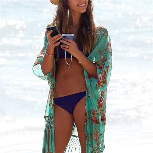 2016 Brand Bathing Suit Cover Ups Tunic Beach Kimono With Tassel Fashion Pareo Robe Floral Print Kaftan Sexy Hawaiian Robe #Q1