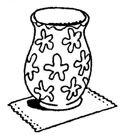 Print de vaas. Laat de kinderen er een prachtige bos bloemen in tekenen