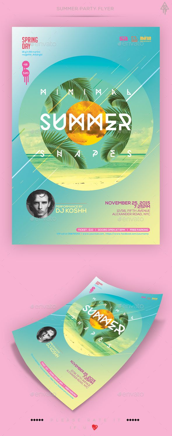 Minimal Summer Party Flyer  #sea #summer #summer beach • Available here → http://graphicriver.net/item/minimal-summer-party-flyer/15655932?s_rank=174&ref=pxcr