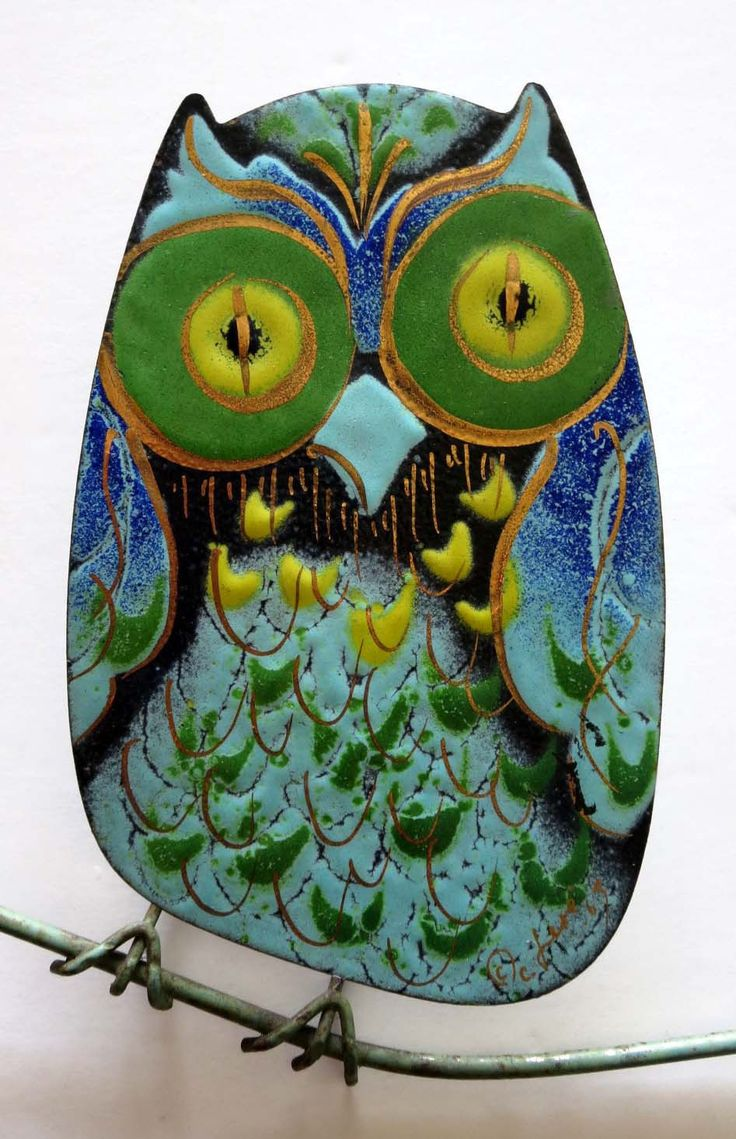 Vintage 1965 Mid-Century Modern Wall Sculpture Curtis Jere Owl Family Enameled