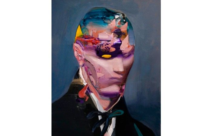 LOT 54 - DANIEL MĄCZYŃSKI - The Thinker [2014] - Oil on canvas - 40 × 30 cm (15.7 × 11.8 inch) - Estimate €1,000 - €1,500 http://lavacow.com/current-auctions/lavacow-christmas-auction/portrait-with-bow-tie.html#sthash.oDcoT9yb.dpuf