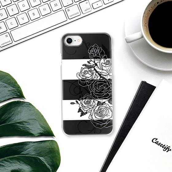 Inverted Roses iPhone Case. #roses #rose #flower #swirls #blackandwhite #striped #stripes #inverted #iphone #case #casetify