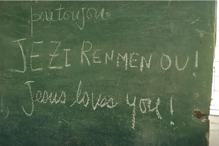 Jesus Loves You! On a Chalkboard in Haiti