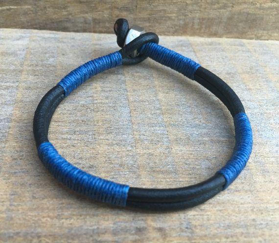 Men's Bracelet, Guys Bracelet, Mens Black Bracelet, Mens Blue Bracelet, Cool Gift for Him, Mens Cuff, Mens Bangle, Mens Leather Bracelet