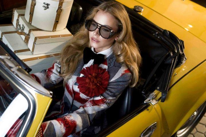 Vilagallo AW11 #british #red #blue #white #flag #jacket #glasses #hair #yellow #car #fashion #women #autumn #winter
