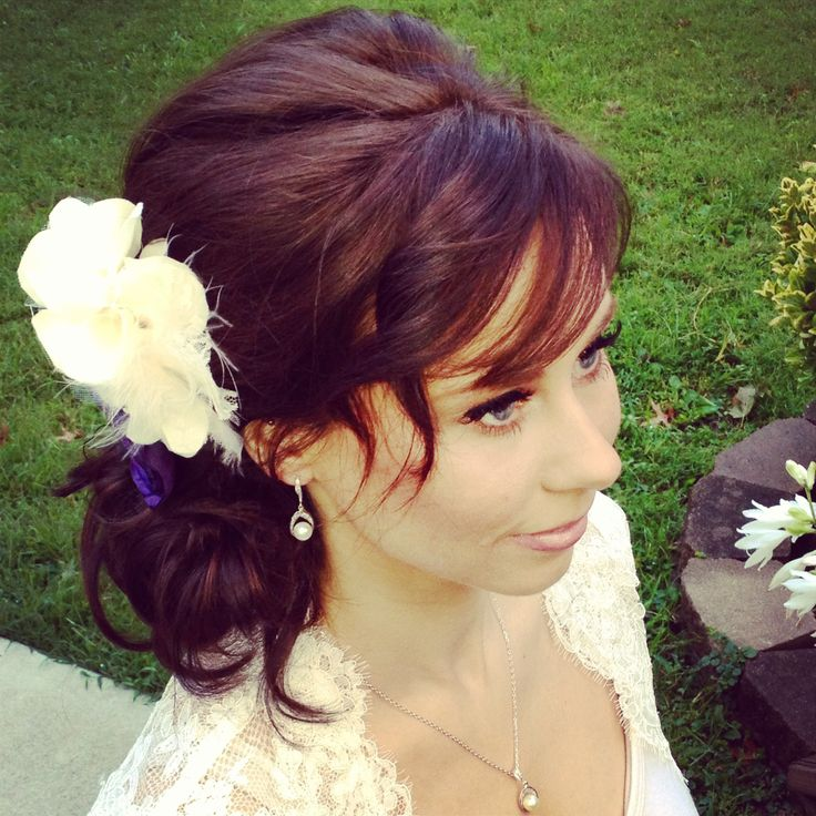 Bridal hair. Loose updo, loose bun, wedding hair, southern ...