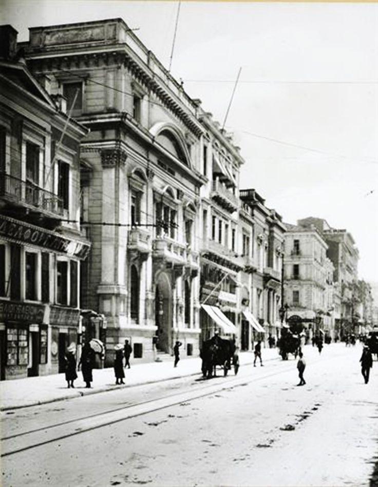 Αθήνα. Η οδός Σταδίου και το μέγαρο της Τράπεζας Αθηνών, περ. 1903-1923