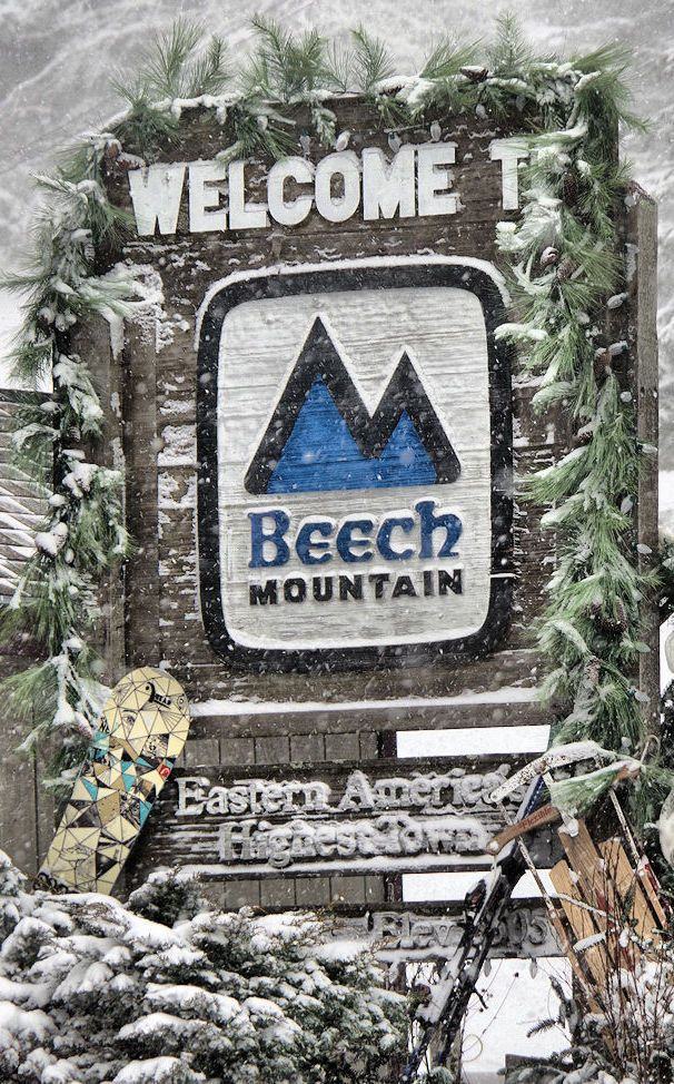 Beech Mountain, North Carolina - the highest town in Eastern USA - with ski resort and winter fun.