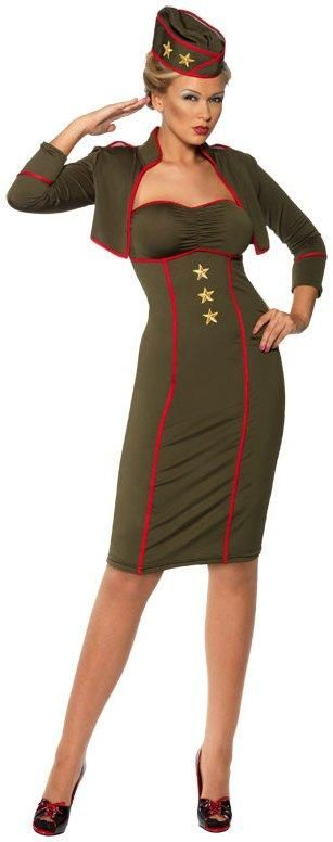 Retro Army Girl Adult Costume from Buycostumes.com:  this is a front runner for military wear