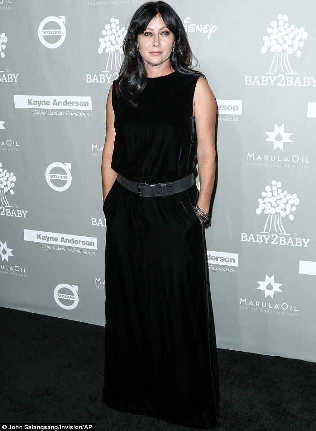 Under strain: Shannen Doherty made her first post-cancer diagnosis red carpet appearance in LA on Saturday