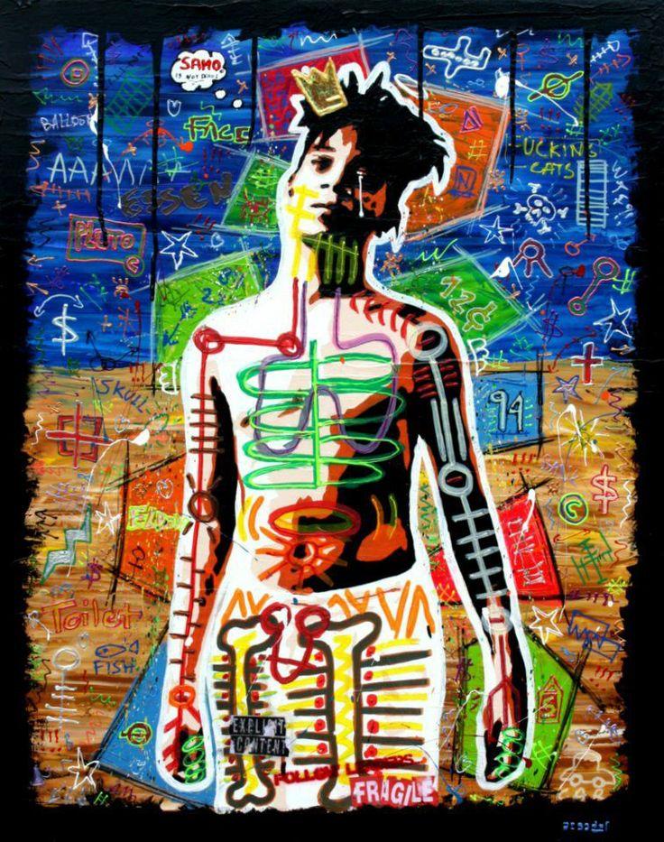 SAMO IS NOT DEAD ! Technique mixte sur toile en lin de 73cm x 92cm. Hommage à Jean Michel Basquiat
