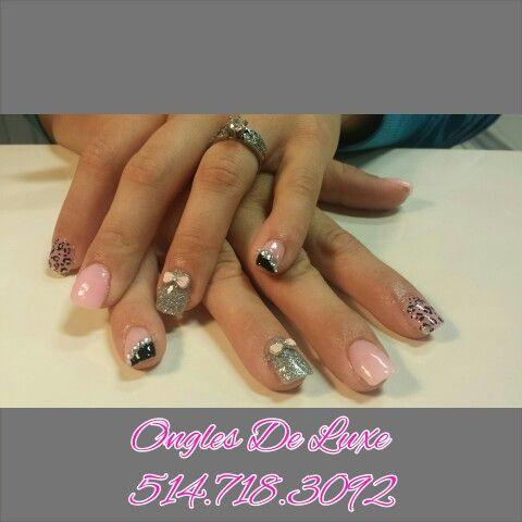 Pink silver black nails