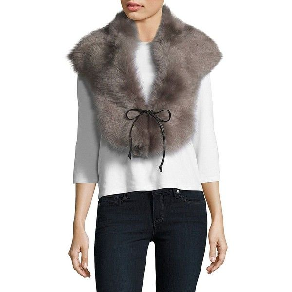 UGG Women's Plush Fur Shrug ($275) ❤ liked on Polyvore featuring outerwear, storm grey, cardigan shrug, shrug cardigan, grey shrug, grey fur shrug and fur shrug