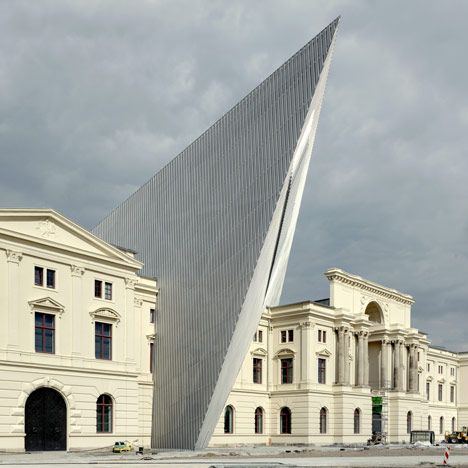 New York architect Daniel Libeskind has driven a pointed steel and glass shard through the heart of the war museum in Dresden, which reopens on October 14 after a 22-year closure.