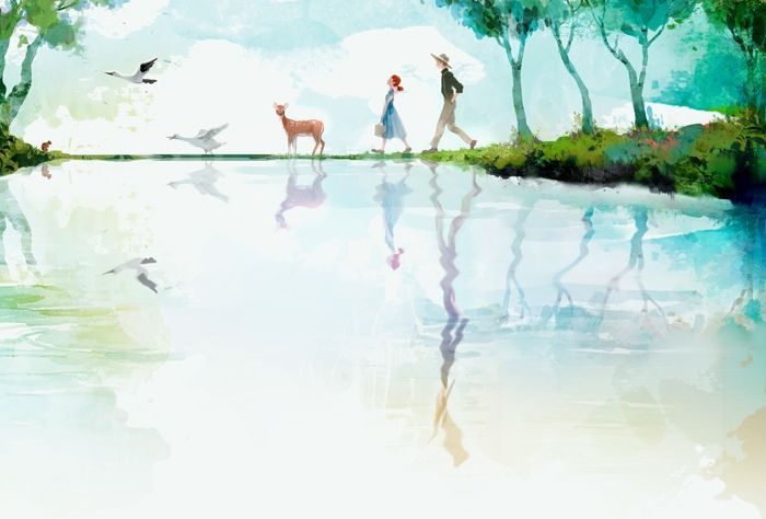 Beautiful illustration with deer and geese reflection