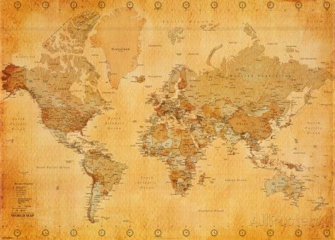 Vintage World Map Print at AllPosters.com  (non commital option as opposed to wallpaper!)