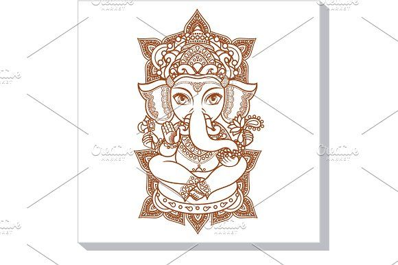 Lord Ganesh. Hindu elephant by Zoya Miller on @creativemarket