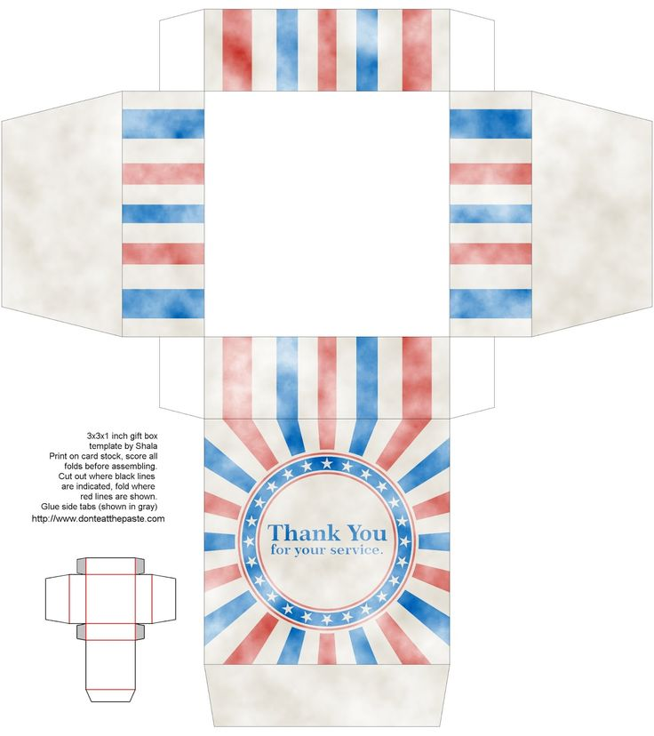 "Printable Veteran's Day gift box that says ""Thank you for your service""  http://www.donteatthepaste.com/2014/11/printable-veterans-day-gift-box.html"