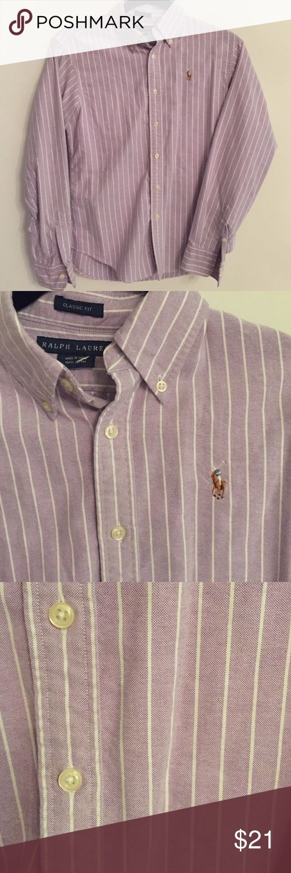 Ralph Lauren purple pinstriped oxford Classic fit button down women's top. Light purple with white stripes Ralph Lauren Tops Button Down Shirts
