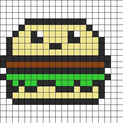 Cute Hamburger Perler Bead Pattern | Bead Sprites | Food Fuse Bead Patterns
