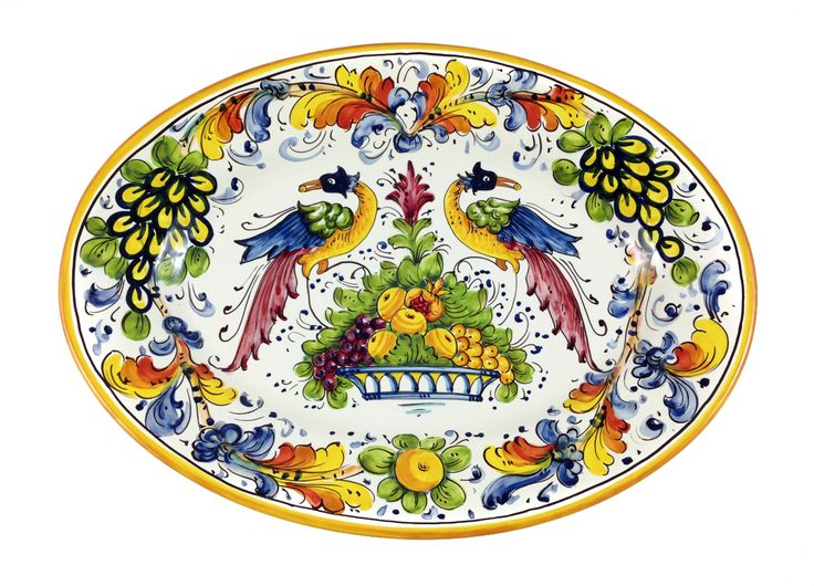 Hand painted just outside of Florence, Italy. Birds of paradise majolica done with traditional mineral paints.