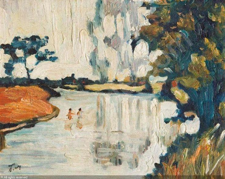 """""""Flusslandschaft"""" sold by Auktionshaus Bergmann, Erlangen, on Saturday, October 11, 2014"""