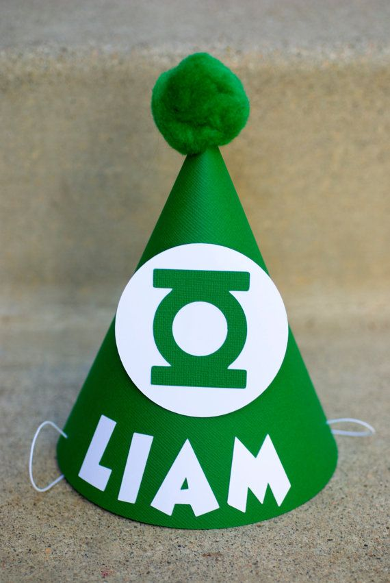 Green Lantern Inspired Birthday Party Hat  - Personalized for birthday child