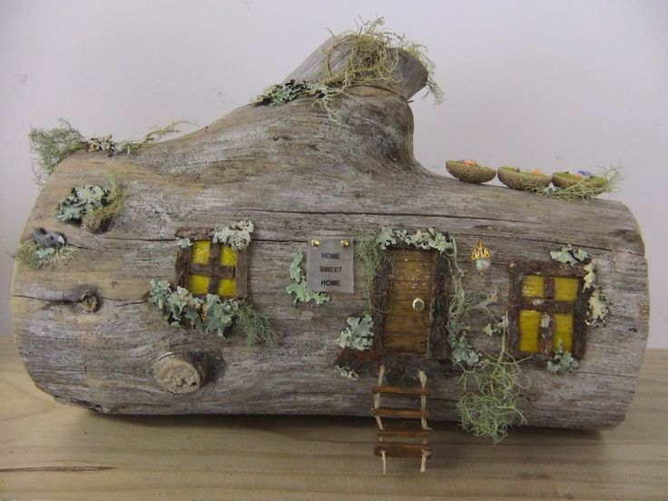 Old log fairy house