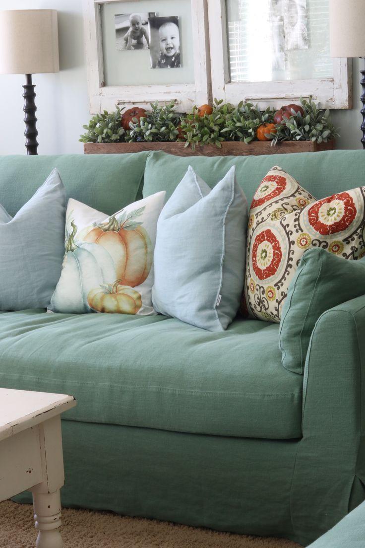 Shabby Chic Living Room | Fall Living Room Styling | Green Linen Slipcovered  Sofa | Cindy