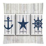Anchor Things - Charming Frame - Vintage Anchor Star Sailing Logo with Grey Wood Background Design Cushion Pillow Case,Twin Sides Zippered Pillowcase Pillow Cover 18x18 inches