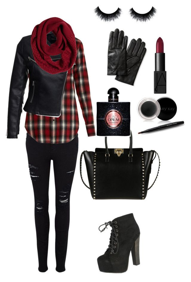 Rock fall by andrea-levander on Polyvore featuring polyvore, fashion, style, Yves Saint Laurent, New Look, Frame Denim, Breckelle's, Valentino, Banana Republic, prAna, Mary Kay, NARS Cosmetics, rock and blackandred