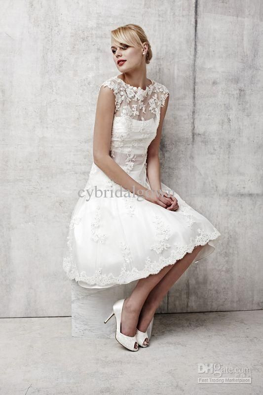 Wholesale Sleeveless Lace A-line Knee length Bridal Wedding Dress 2013 Benjamin Roberts 2352 J04, Free shipping, $151.2-156.8/Piece | DHgate