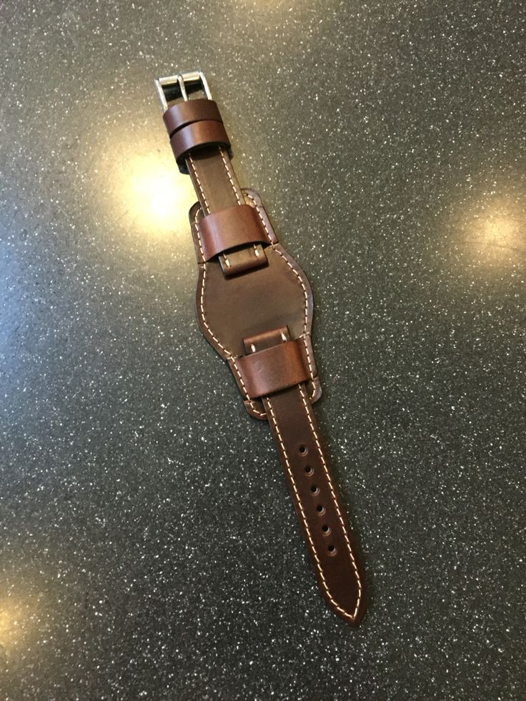 Custom Horween Chromexcel Leather Bund Watch Strap from 922Leather.com