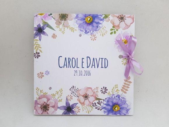 Convite de casamento floral lilás