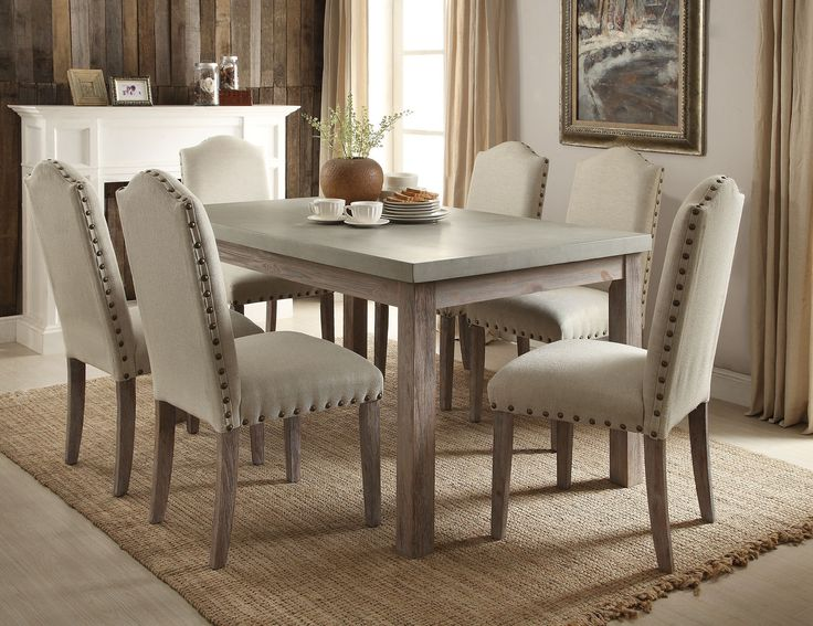 Acme 71740 Parker 7pcs Frosted Gray Salvage Oak Dining Table Set