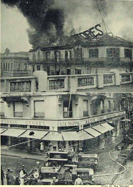 """Incêndio ocorrido em 1922 na famosa """"Casa Mappin"""", vendo-se o trabalho do corpo de bombeiros"""