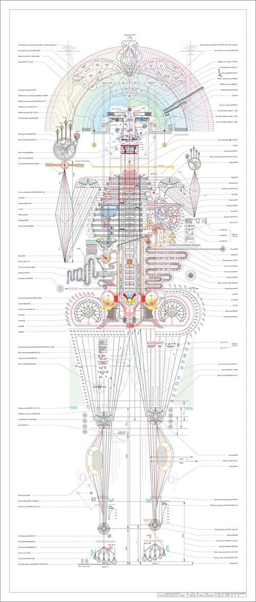 Korean artist Minjeong An uses information visualizations to illustrate complex self-portraits—forming detailed diagrams of arm, body, and leg movements of the human anatomy: