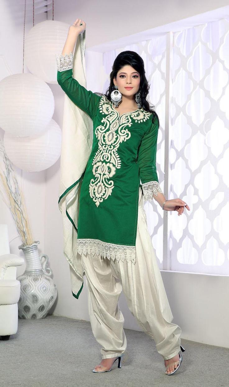 $105.53 Green 3/4 Sleeve Chanderi Silk Short Length Punjabi Salwar Kameez 21371