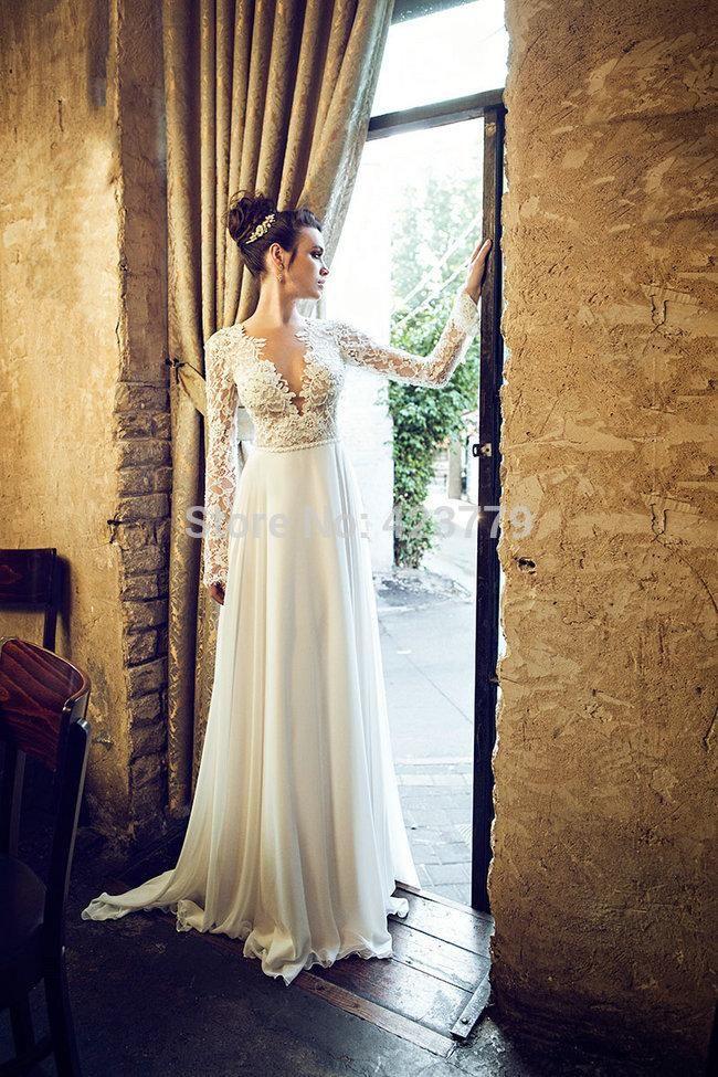 2015 Outono Inverno mangas compridas vestidos de casamento Lace Sexy profundo decote em V Chiffon Andar de comprimento Plus Size Vestidos Backless Vestidos de noiva de noiva