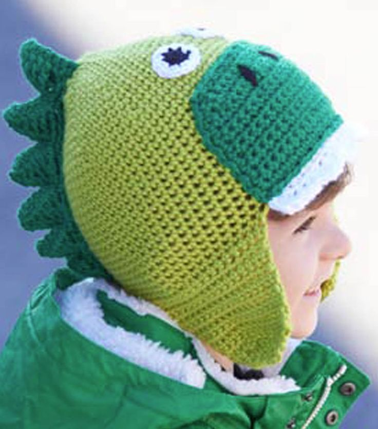 Dinosaur Knit Hat Pattern : 1000+ images about Hats, Chrochet on Pinterest Patterns, Crochet dinosaur h...