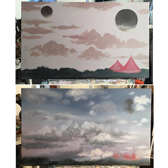 Ok so that didn't go as I planned😬 top: last night's composition, bottom: this morning. My ever changing sky. This happens quite often because sometimes I don't use reference images...because I love creating my own sky n clouds...and as a result, I curse a lot during the process😳 like a sailor💀😷💩. #wip #damnyouclouds #skyandclouds #paintingoftheday #instaart #acryliconcanvas #progress #frustration
