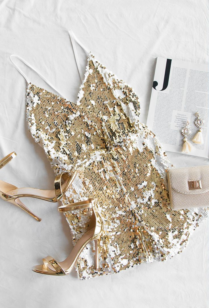 Gold and White Sequin Romper