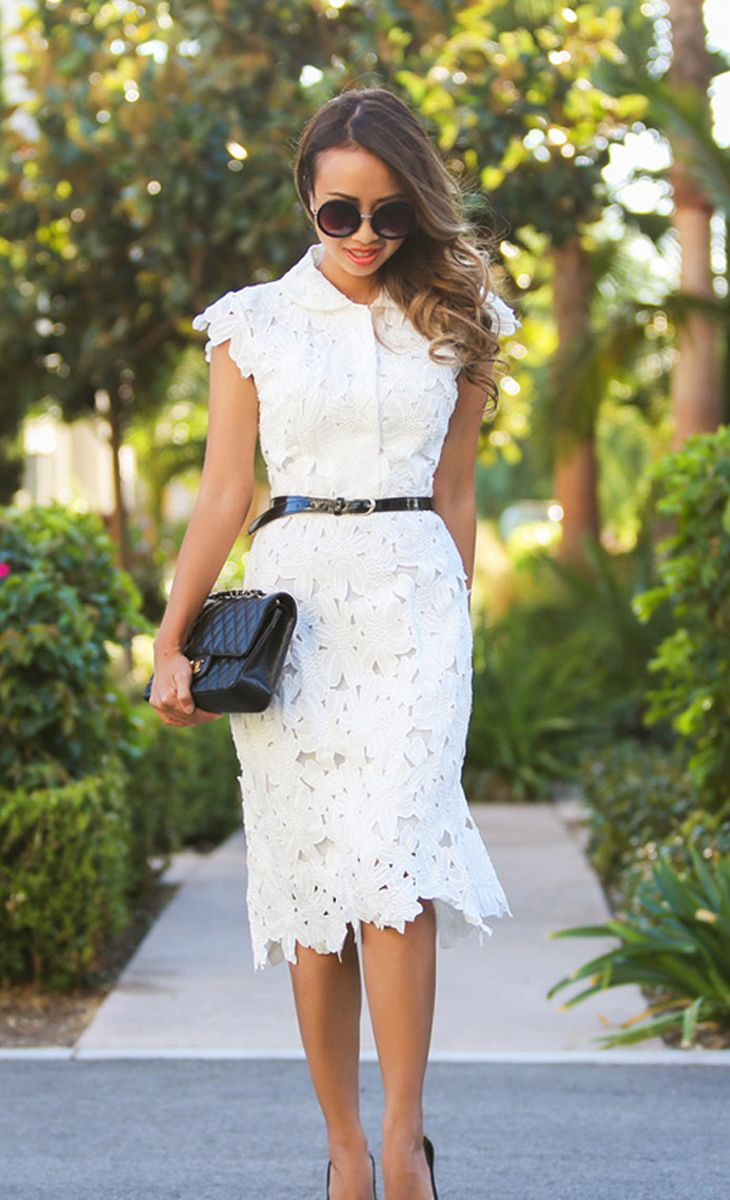 Lace flower cutout dress