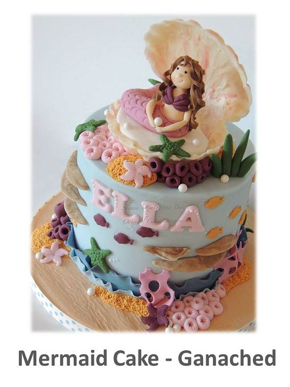 Mermaid Ganached Cake & Chocolate Shell by ShereensCakesandBake